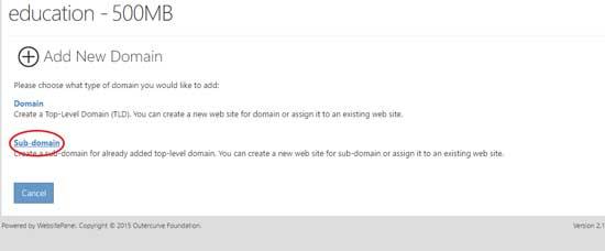 add subdomain in websitePanel